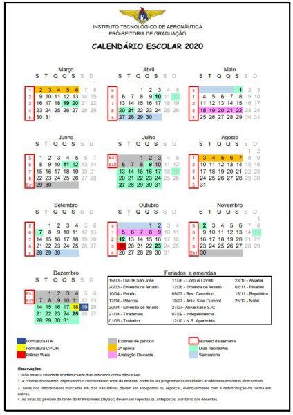 Calendario escolar 2020